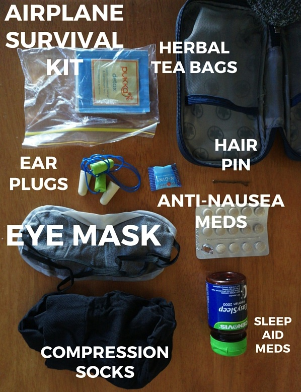 What's inside the above Airplane Survival Kit - I keep this within easy reach in my carry-on.