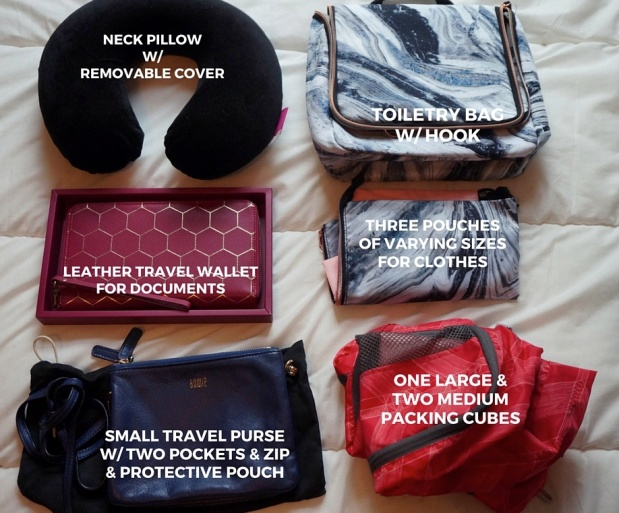 The big things: bags, wallets, packing cubes.