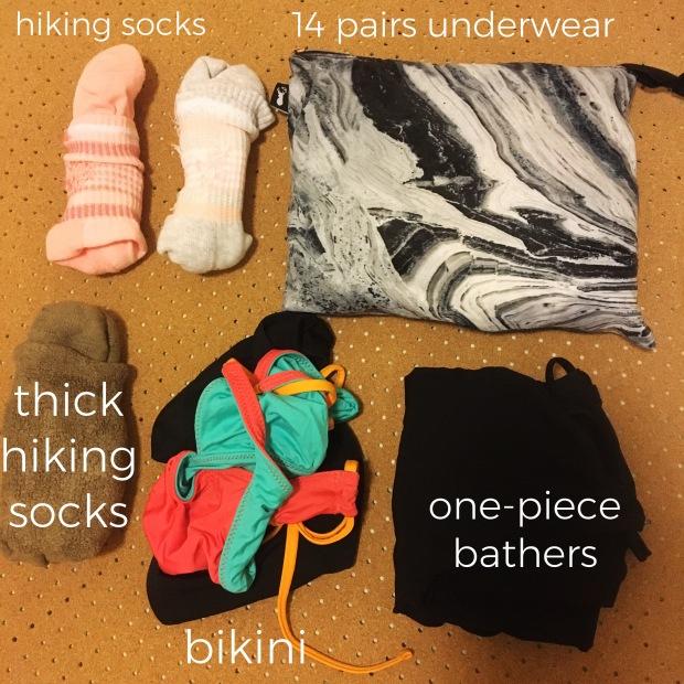 socks + underwear + bathers